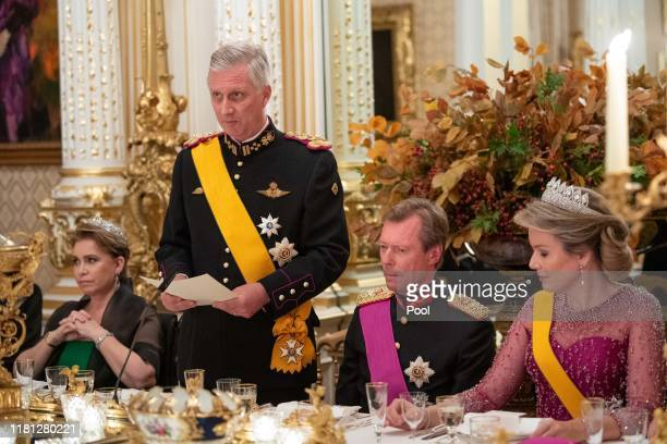 Grand Duchess Maria Teresa of Luxembourg King Philippe of Belgium Grand Duke Henri of Luxembourg and Queen Mathilde of Belgium attend the State...