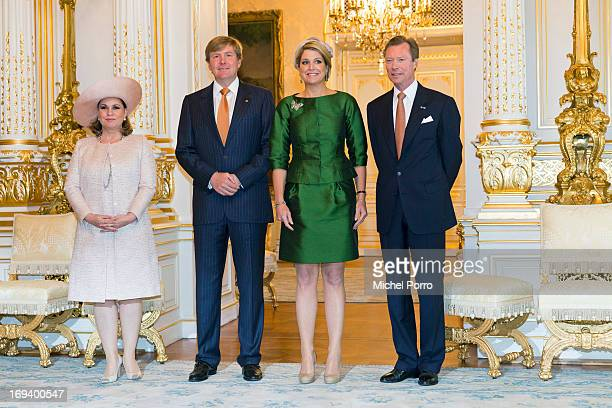 Grand Duchess Maria Teresa of Luxembourg King Willem Alexander of The Netherlands Queen Maxima of The Netherlands and Grand Duke Henri of Luxembourg...