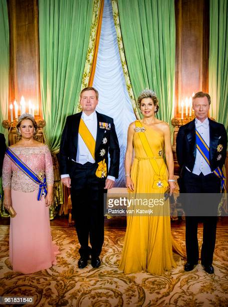 Grand Duchess Maria Teresa of Luxembourg King WillemAlexander of The Netherlands Queen Maxima of The Netherlands and Grand Duke Henri of Luxembourg...
