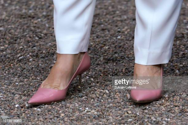 Grand Duchess Maria Teresa of Luxembourg, shoe detail, arrives for the baptism of Prince Charles of Luxembourg at l'Abbaye St Maurice on September...