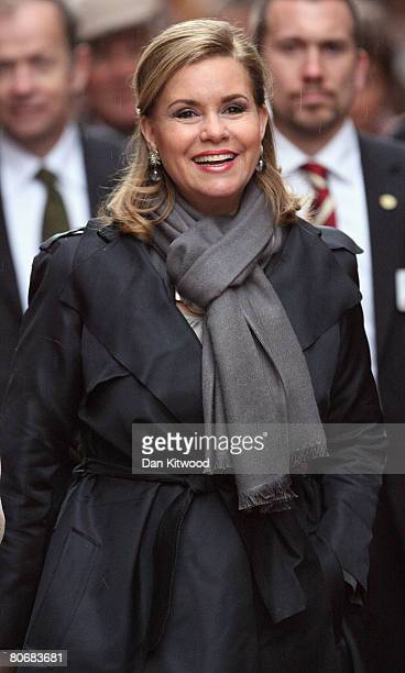 Grand Duchess Maria Teresa of Luxembourg takes a tour through the old town in Stockholm on the first day of a three day state visit on April 15 2008...