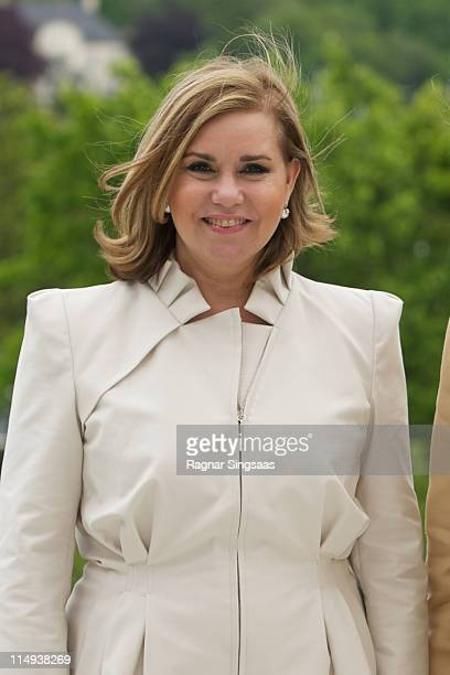 Grand Duchess Maria Teresa of Luxembourg visits the Oscarshall summer palace on the first day of the Luxembourgian state visit on May 30 2011 in Oslo...