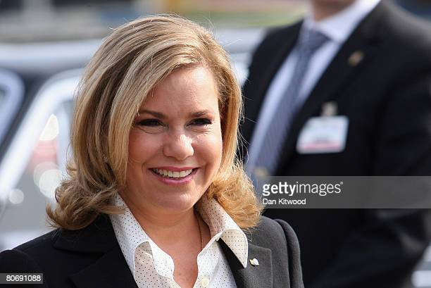 Grand Duchess Maria Teresa of Luxembourgvisits Tallbohovskolan a school outside Stockholm on the second day of a three day state visit on April 16...