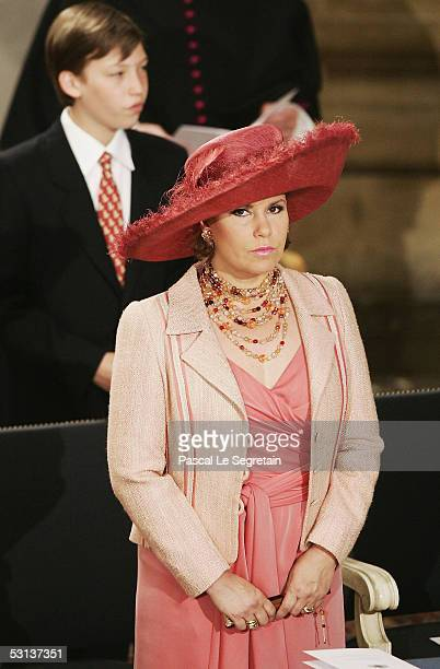 Grand Duchess Maria Teresa, the Duchess of Luxembourg, and her son, Prince Sebastien , attend a Te-Deum at the Cathedral of Luxembourg as part of...