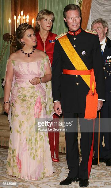 Grand Duchess Maria Theresa and Grand Duke Henri of Luxembourg attend a dinner at the Grand Ducal Palace as part of National Day celebrations June...