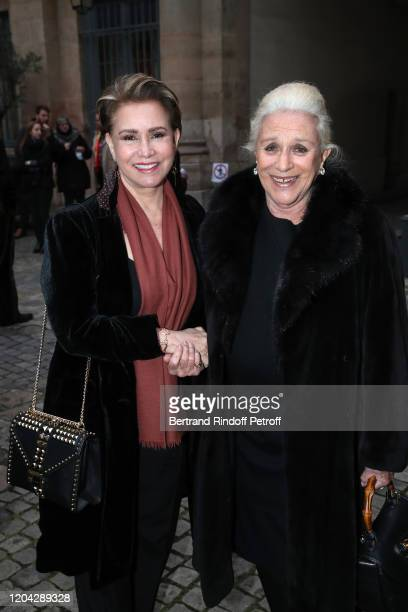 Grand Duchess Maria Theresa of Luxembourg and Baroness Helene Ludinghausen attend the Installation of Frederic Mitterrand at the Academie des...