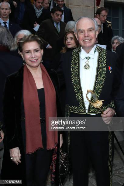 Grand Duchess Maria Theresa of Luxembourg and Frederic Mitterrand attend the Installation of Frederic Mitterrand at the Academie des BeauxArts Held...