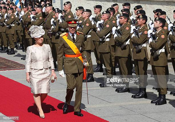 Grand Duchess Maria Theresa of Luxembourg and Grand Duke Henri of Luxembourg arrive in the cathedral to attend Te Deum on Luxembourg's National Day...