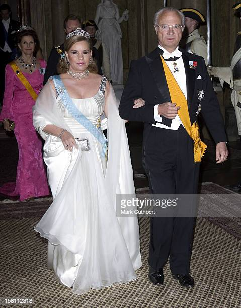 Grand Duchess Maria Theresa Of Luxembourg And King Carl Gustaf Attend The State Banquet At The Royal Palace In Stockholm Sweden