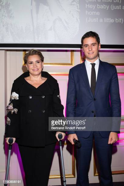 Grand Duchess Maria Theresa of Luxembourg and Secretary of State to the French Minister of National Education and Youth Gabriel Attal attend the Prix...