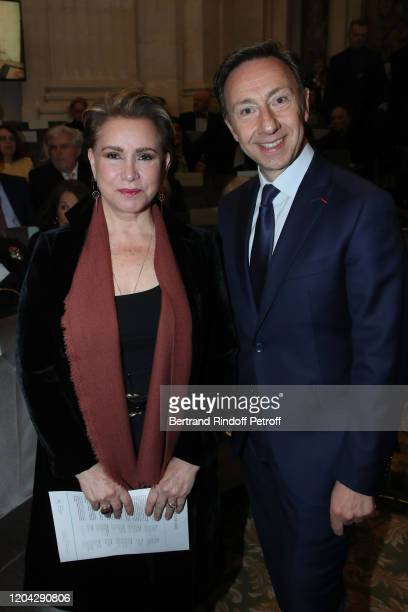 Grand Duchess Maria Theresa of Luxembourg and Stephane Bern attend the Installation of Frederic Mitterrand at the Academie des BeauxArts Held at...