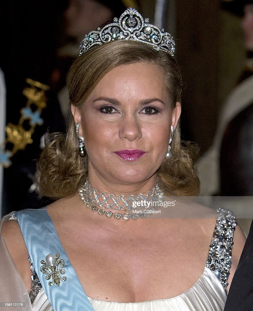 Grand Duchess Maria Theresa Of Luxembourg Attends The State Banquet At The Royal Palace In Stockholm, Sweden.