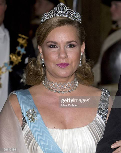 Grand Duchess Maria Theresa Of Luxembourg Attends The State Banquet At The Royal Palace In Stockholm Sweden