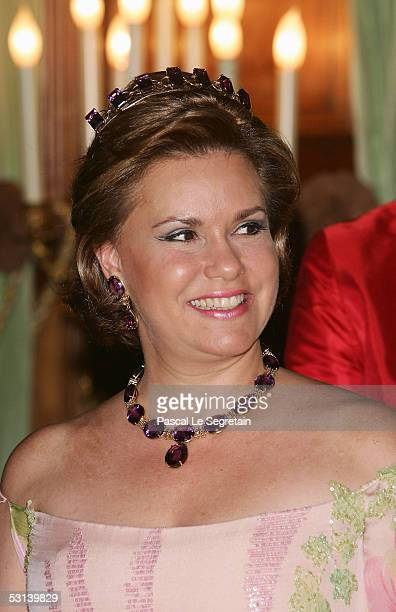 Grand Duchess Maria Theresa poses during a dinner at the Grand Ducal Palace as part of National Day celebrations June 23, 2005 in Luxembourg.
