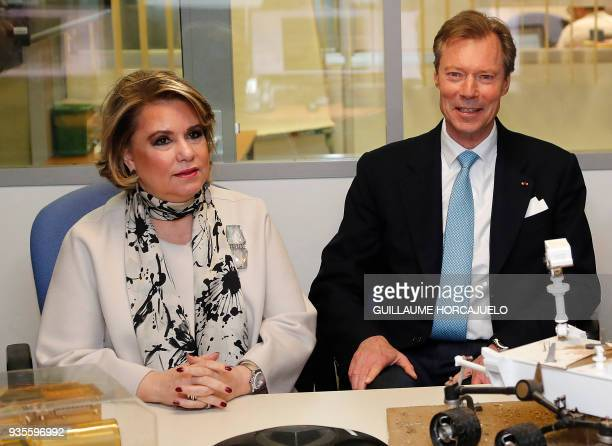 Grand Duchess MariaTeresa of Luxembourg and Grand Duke Henri of Luxembourg visit the National Centre for Space Studies in Toulouse southern France on...