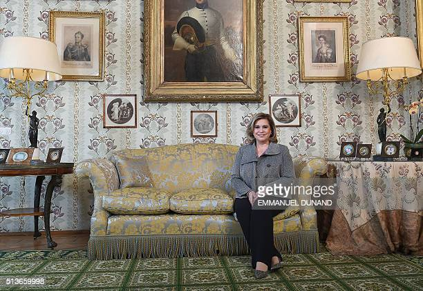Grand Duchess of Luxembourg Maria Teresa poses after giving an exclusive interview to Agence FrancePresse at the Berg Castle the Grand Ducal...