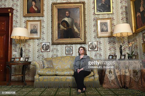 Grand Duchess of Luxembourg Maria Teresa poses after giving an exclusive interview to Agence France-Presse at the Berg Castle, the Grand Ducal...