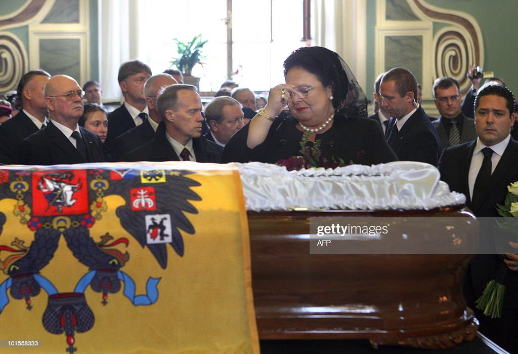 Grand Duchess of the Romanov dynasty Maria Vladimirovna makes a sign of the cross over the coffin of her mother Grand Duchess Leonida Georgievna during the latter's wake in St. Petersburg on June 2, 2010 at the Peter and Paul Cathedral. Grand Duchess Leonida Georgievna, a senior member of Russia's Romanov dynasty, died on May 23, 2010 aged 95 after a life that saw her marry a US industrialist and then the claimant to the Russian throne. Born in 1914 before the Russian Revolution that ousted the Romanov imperial family, she had been the last surviving member of the dynasty to be born in the Russian Empire, a spokesman for the family said.