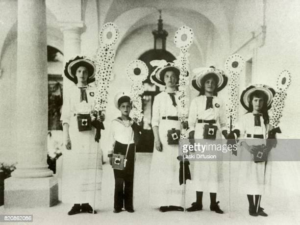 Grand Duchess Tatiana Tsarevich Alexei Grand Duchesses Olga Maria Anastasia children of Tsar Nicholas II Romanov of Russia and Empress Alexandra...