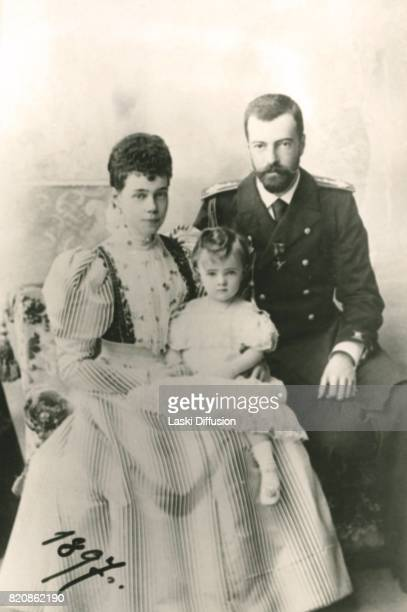 Grand Duchess Xenia Alexandrovna of Russia sister of Tsar Nicholas II with her husband Grand Duke Alexander Mikhailovich and their daughter Princess...