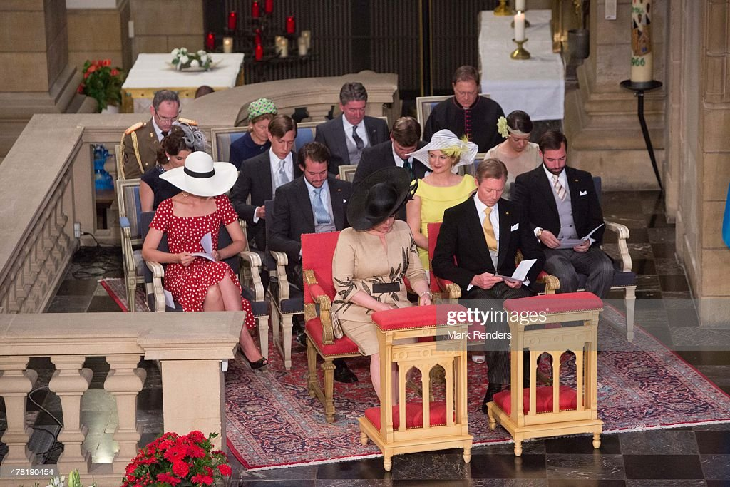 Grand Duchesse Maria Teresa, Grand Duke Henri, Princess Claire, Prince Felix, Princess Stephanie, Prince Guillome, Princess Terry, Prince Felix, Prince Sebastien, Princess Alexandra of Luxembourg attend National Day on June 23, 2015 in Luxembourg, Luxembourg.