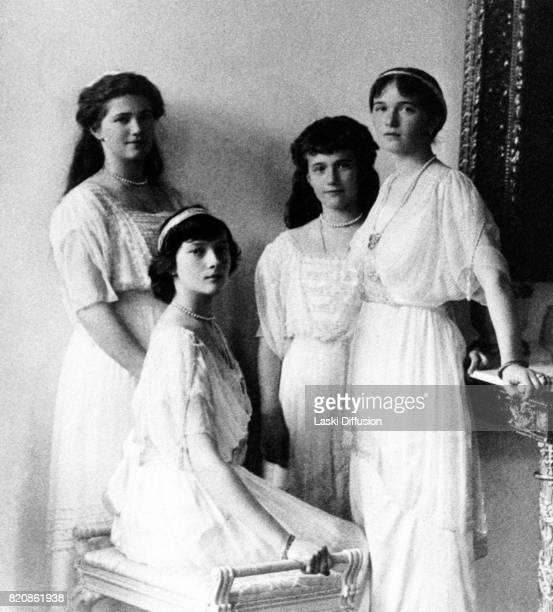Grand Duchesses Maria Tatiana Anastasia and Olga daughters of Tsar Nicholas II Romanov of Russia and Empress Alexandra Feodorovna Romanova Russia...