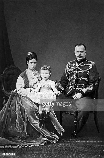 Grand Duke Alexander of Russia future czar Alexander III with his wife Maria Fedorovna and their son Nicolas future czar Nicolas II photo by Levitsky