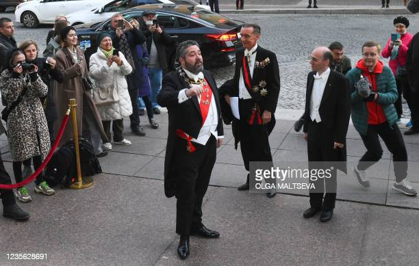 Grand Duke George Mikhailovich Romanov arrives to attend a wedding dinner after his wedding ceremony in Saint Petersburg, on October 1, 2021. -...