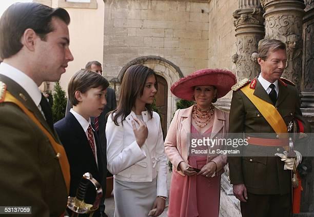 Grand Duke Guillaume of Luxembourg, Prince Sebastien, Princess Alexandra, Grand Duchess Maria Teresa, the Duchess of Luxembourg, and Grand Duke...