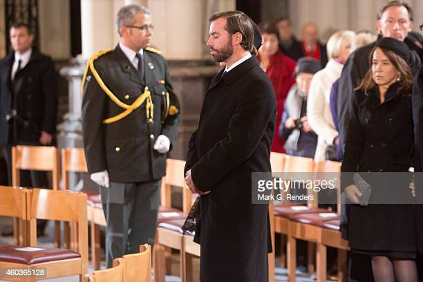 Grand Duke Guillome of Luxembourg attends the funeral of Queen Fabiola of Belgium at Notre Dame Church on December 12, 2014 in Laeken, Belgium.