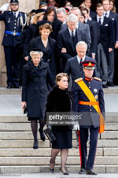 Grand Duke Henri and Grand Duchess Maria Teresa of Luxembourg Arch Duchess Marie Astrid and Arch Duke Carl Christian of Austria attend the funeral of...