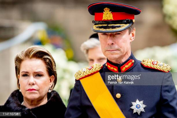 Grand Duke Henri and Grand Duchess Maria Teresa of Luxembourg attend the funeral of Grand Duke Jean of Luxembourg on May 04, 2019 in Luxembourg,...