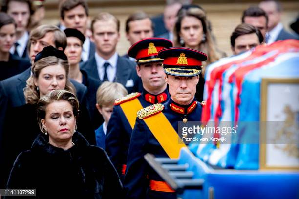 Grand Duke Henri and Grand Duchess Maria Teresa of Luxembourg attend the funeral of Grand Duke Jean of Luxembourg on May 04 2019 in Luxembourg...