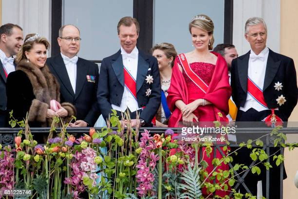 Grand Duke Henri and Grand Duchess Maria Teresa of Luxembourg Prince Albert of Monaco King Philippe and Queen Mathilde of Belgium attend the official...