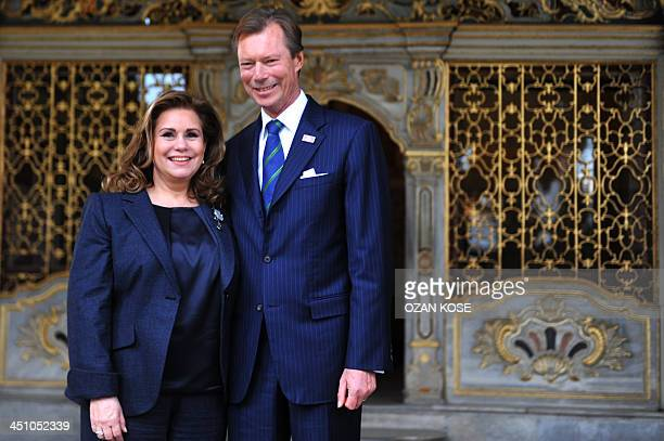 Grand Duke Henri and Grand Duchess Maria Teresa of Luxembourg walk in the Topkapi Palace on November 21 2013 during their visit in Istanbul AFP PHOTO...