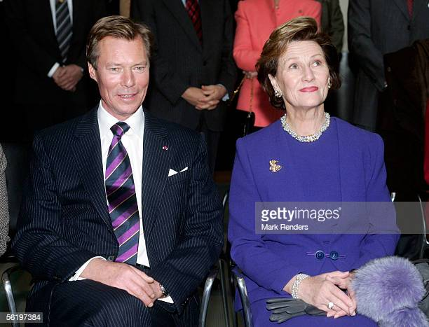 Grand Duke Henri and Grand Duchess Maria Theresa from Luxembourg attend the opening of an exhibition celebrating 100 years since Queen Astrid's birth...