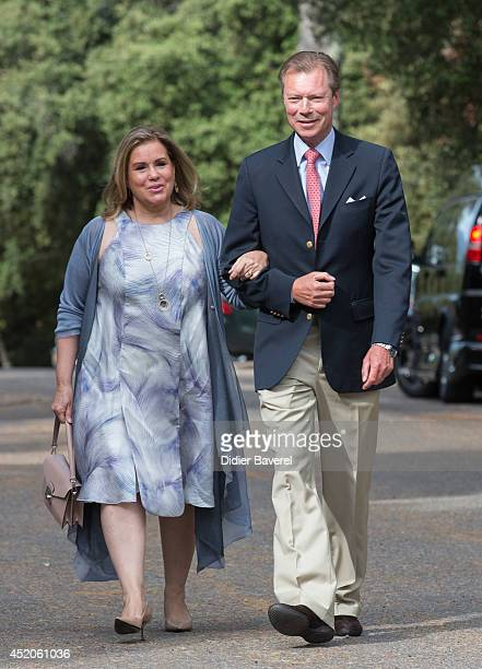Grand Duke Henri and Grand Duchess MariaTeresa of Luxembourg arrive for the baptism ceremony of Princess Amalia at the Saint Ferreol Chapel in...