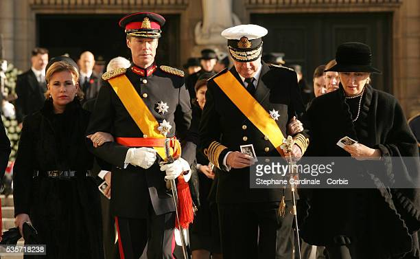 HRH Grand Duke Henri and HRH Grand Duchess Maria Teresa of Luxembourg with HRH Queen Paola and King Albert of Belgium attend the funeral of Grand...