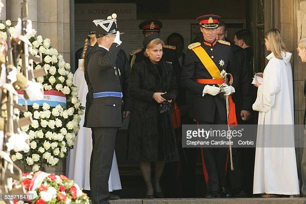 HRH Grand Duke Henri and HRH Grand Duchess Maria Teresa of Luxembourg attend the funeral of Grand Duchess of Luxembourg JosephineCharlotte daughter...