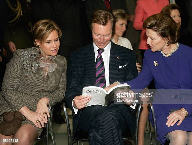 Grand Duke Henri and Maria Theresa and Queen Sonya from Norway attend the opening of an exhibition celebrating 100 years since Queen Astrid's birth...