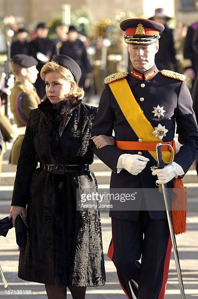 Grand Duke Henri Grand Duchess Maria Theresa Attend The Funeral Of Grand Duchess JosephineCharlotte Of Luxembourg At The Cathedral NotreDame Du...