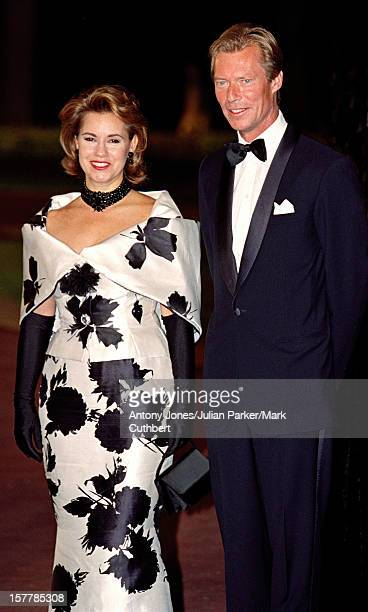 Grand Duke Henri Grand Duchess Maria Theresa Attend The Gala Dinner At The Ceno Palacio On The Eve Of The Wedding Of Infanta Cristina Of Spain And...