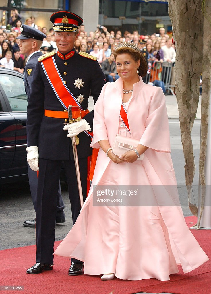 Grand Duke Henri & Grand Duchess Maria Theresa Of Luxembourg Attend The Wedding Of Crown Prince Haakon Of Norway & Mette-Marit In Oslo.