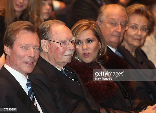Grand Duke Henri Grand Duke Jean Grand Duchess Maria Teresa of Luxembourg and King Albert and Queen Paola of Belgium assist a concert at the...