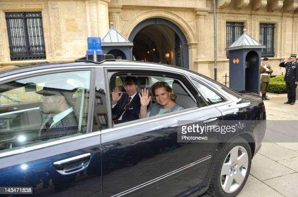 Grand Duke Henri Guillaume of Luxembourg and Marie Teresa wave from their car after their son Prince Guillaume of Luxembourg announced his engagement...