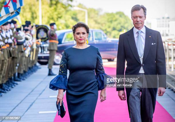 Grand Duke Henri of Luxembourg and Grand Duchess Maria Teresa of Luxembourg arrive at the Philiarmonie for the concert on the National Day on June...