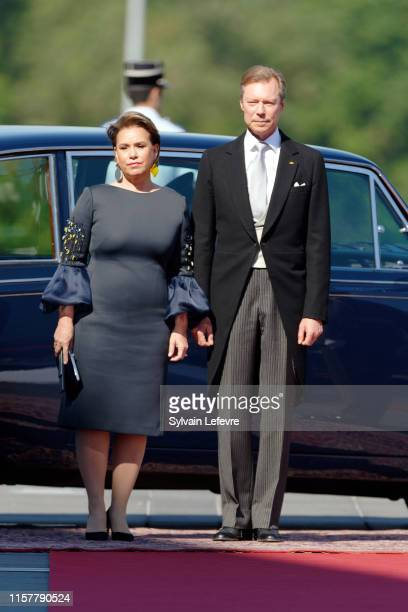 Grand Duke Henri of Luxembourg and Grand Duchess Maria Teresa of Luxembourg arrive at the Philharmonie for the concert on the National Day on June 23...