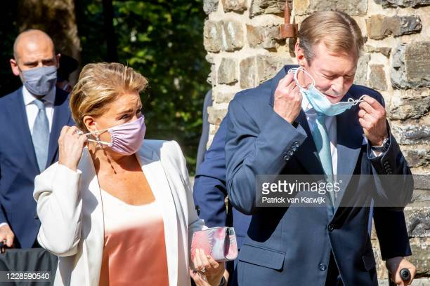 Grand Duke Henri of Luxembourg and Grand Duchess Maria Teresa of Luxembourg at the baptism ceremony of Prince Charles at the L'abbaye St Maurice on...