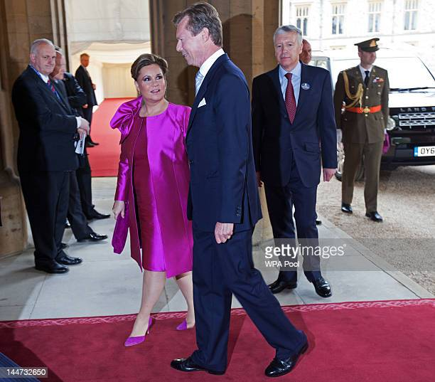 Grand Duke Henri of Luxembourg and Grand Duchess Maria Teresa of Luxembourg arrive at a lunch For Sovereign Monarchs in honour of Queen Elizabeth...