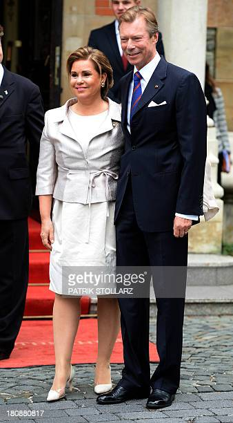 Grand Duke Henri of Luxembourg and Grand Duchess Maria Teresa of Luxembourg arrive at the Civil Wedding Ceremony of their son on September 17 2013 in...